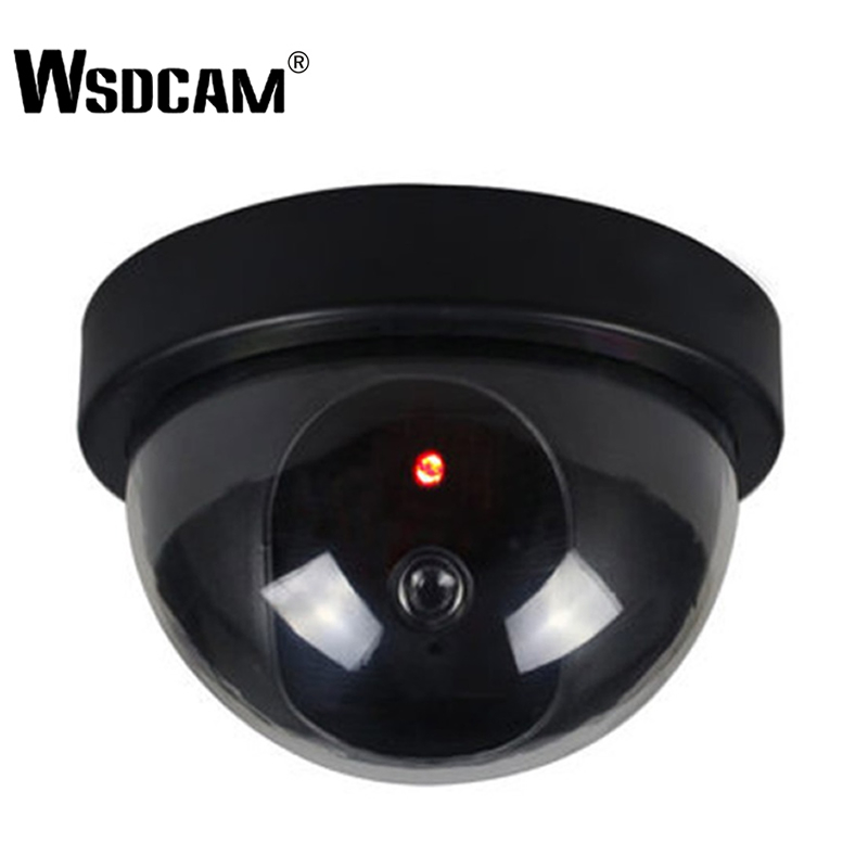 Wsdcam 2018 New Arrivals Outdoor Indoor ABS Surveillance Camera Dummy Fake CCTV Security Dome Camera With Flashing Red LED Light