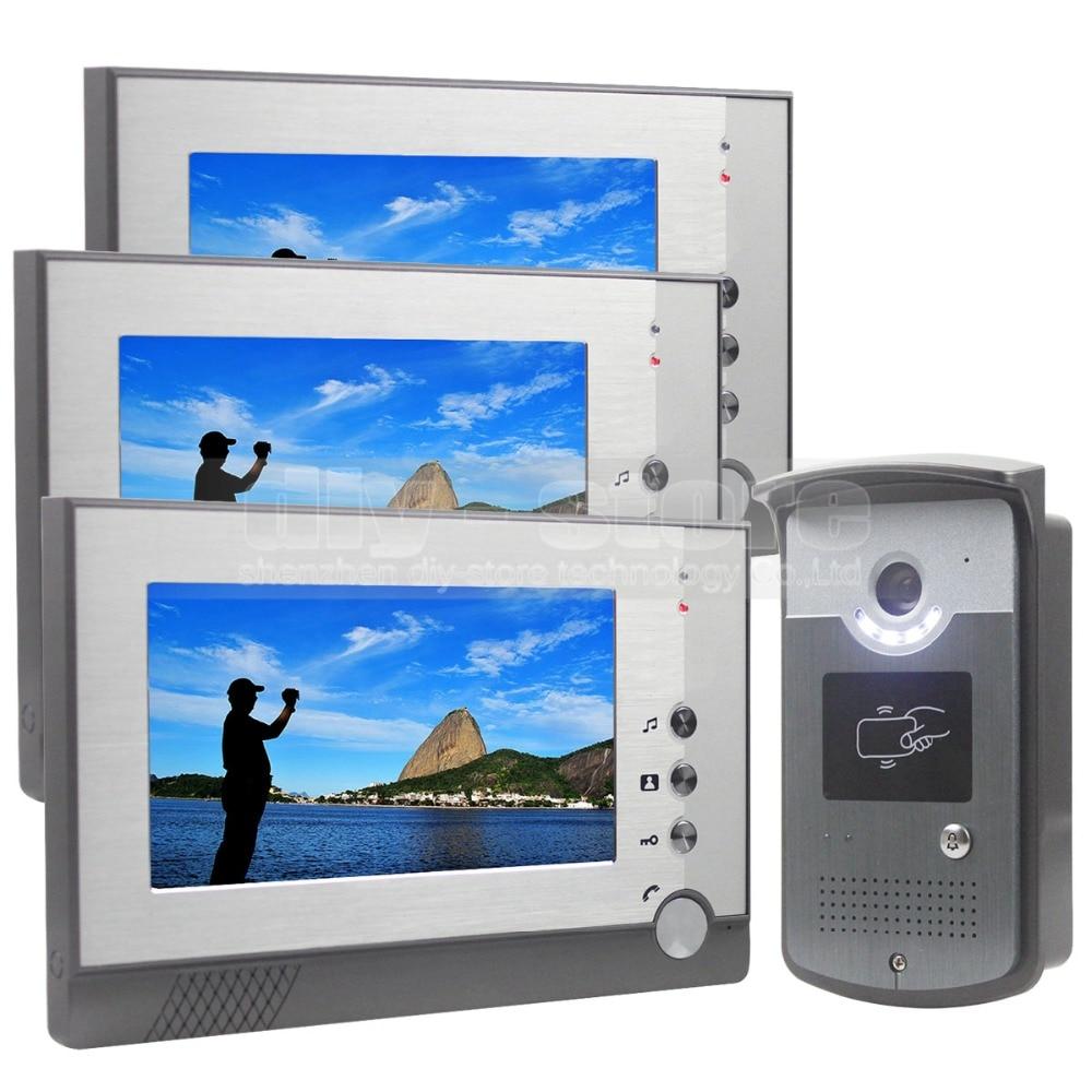DIYSEUCR 7 Inch Color LCD Display Video Door Phone Enter Intercom Doorbell Card Key RFID Reader Camera 1 Camera 3 Monitor