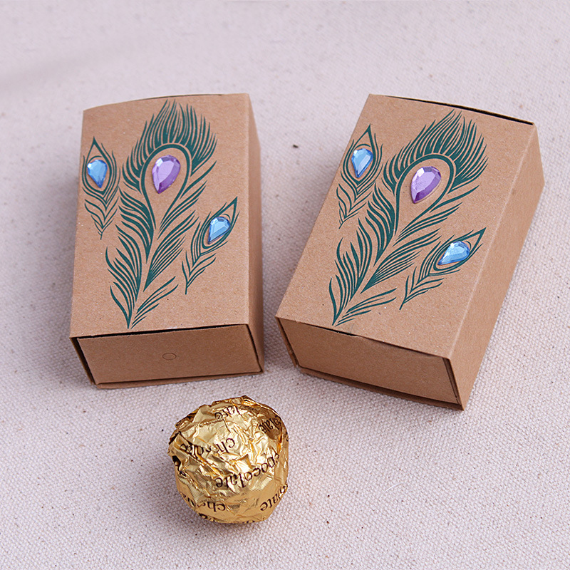 100pcslot kraft paper wedding favors box peacock feather wedding 100pcslot kraft paper wedding favors box peacock feather wedding candy holder pouches rustic wedding centerpieces in gift bags wrapping supplies from junglespirit Images