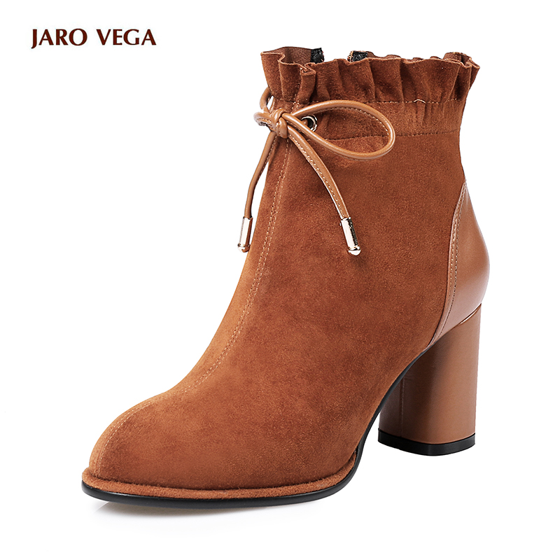 JAROVEGA 2017 Winter Women Boots Lace Up Kid Suede Round Toe Solid Black Square High Heel Fashion Women  Boots Square heel Rome women kid suede lace up comfortable square heel knee high boots fashion pointed toe keep warm winter shoes black khaki