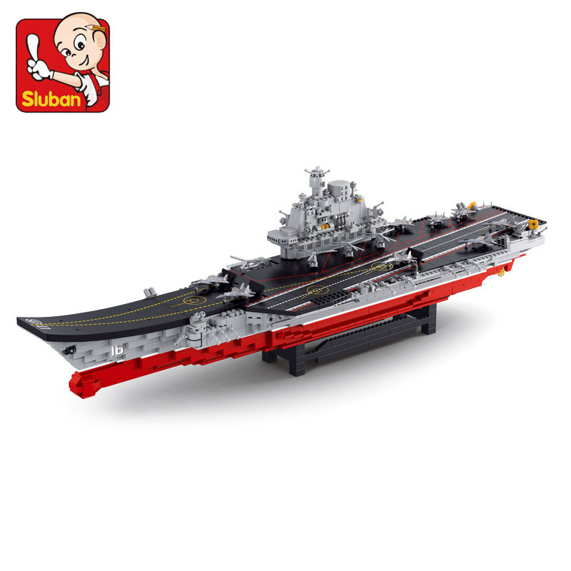 SLUBAN war world Chinese aircraft carrier Liaoning 1875 pcs education DIY toys building blocks sets compatible with lego military star wars spaceship aircraft carrier helicopter tank war diy building blocks sets educational kids toys gifts legolieds