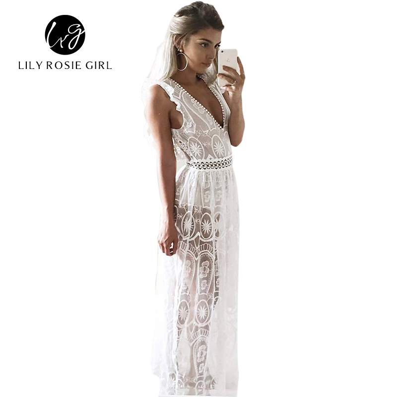 Sexy Hollow Out White Lace Dress Kvinnor Vår High Waist Ärmlös Backless Dress Elegant Jul Maxi Long Dress Vestidos