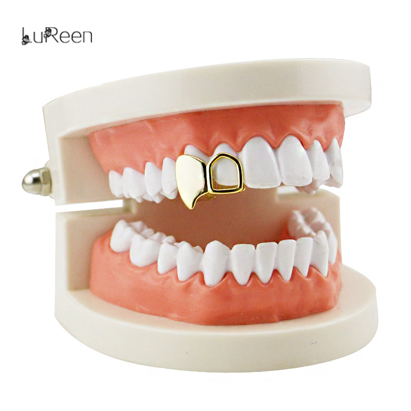 LuReen Gold Teeth Double Cap Vampire Fangs Grillz Teeth Grills Hollow Out Tip Cap Teeth Gold Halloween Party Jewelry