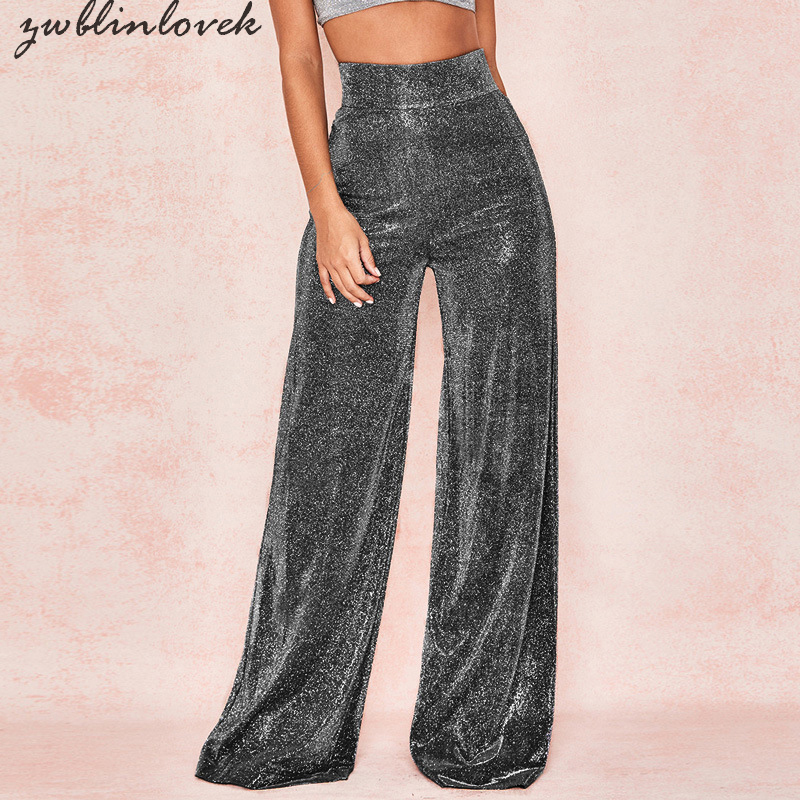 Sexy Shiny Pants Party Women Flare Pants High Waist Reflective Wide Leg Pants Zipper Casual Silver Long Trousers Mujer 2C0044