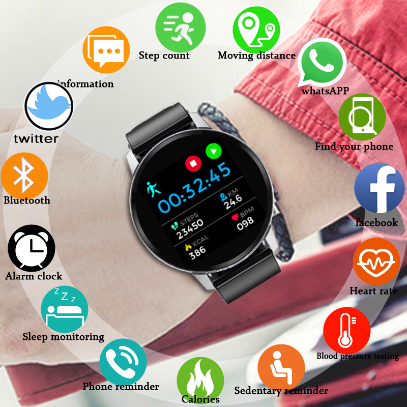 2019 Newest Smart bracelet Full touch Smart watch Heart rate monitor Multi function sports Fitness tracker For men women kids in Smart Wristbands from Consumer Electronics