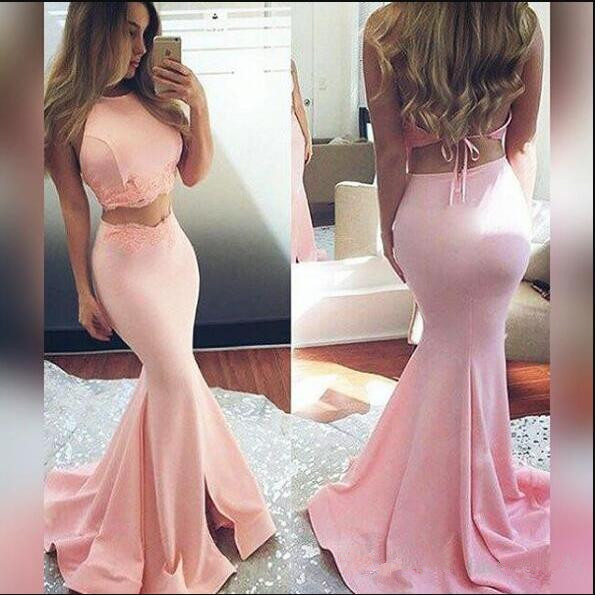 vestido marsala Blush Pink Hot Two Pieces Prom Dresses 2017 Mermaid Halter Neck Open Back Long Train sexy Evening Party Gowns