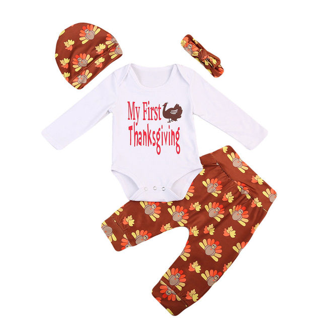 c481f35673df Toddler Girl Boy Baby 4PCS Outfits Long Sleeve Romper Pants Hat Thanksgiving  Clothes Sets Newborn Girls Boys Warm Clothing Set