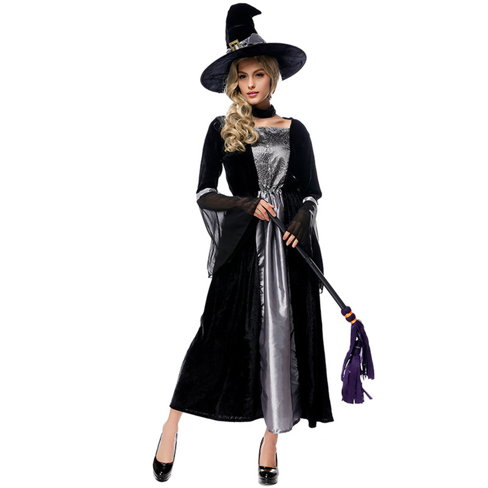 Cosplay Halloween carnival purim costume Black Grey Spider Web Print Witch Devil magic wizard Dress Fancy Dress Party for women