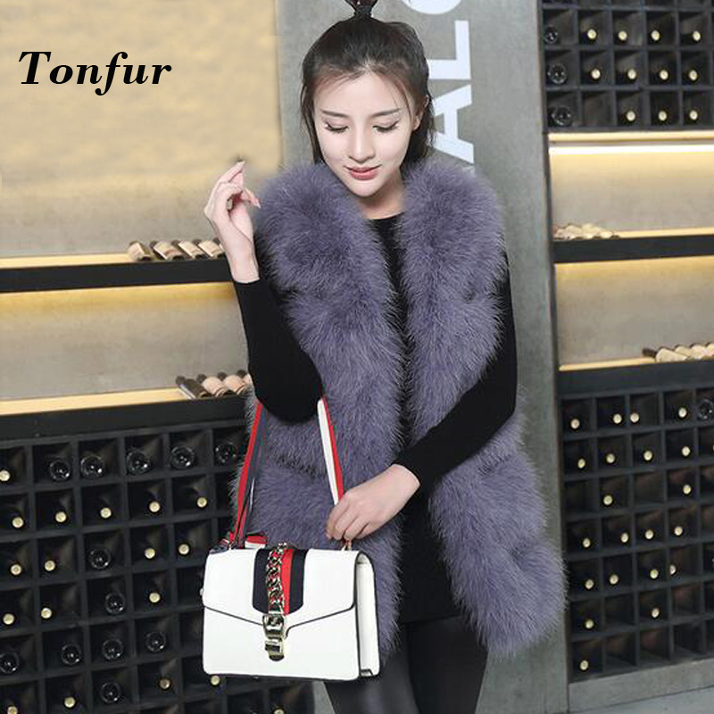 2019 100% Pure True Soft Genuine Ostrich Fur Vest Female Wholesale Retail Natural Classical Sleevess Fur Gilet tbsr115