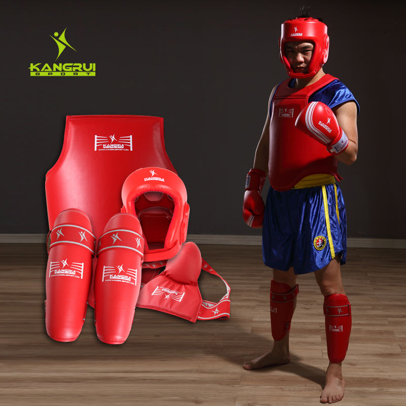 4pc competition MMA Guard suite full set kickboxing protectors sparing fight Muay thai chest shin groin guard Boxing Helmet male wesing aiba approved boxing gloves 12oz competition mma training muay thai kickboxing sanda boxer gloves red blue