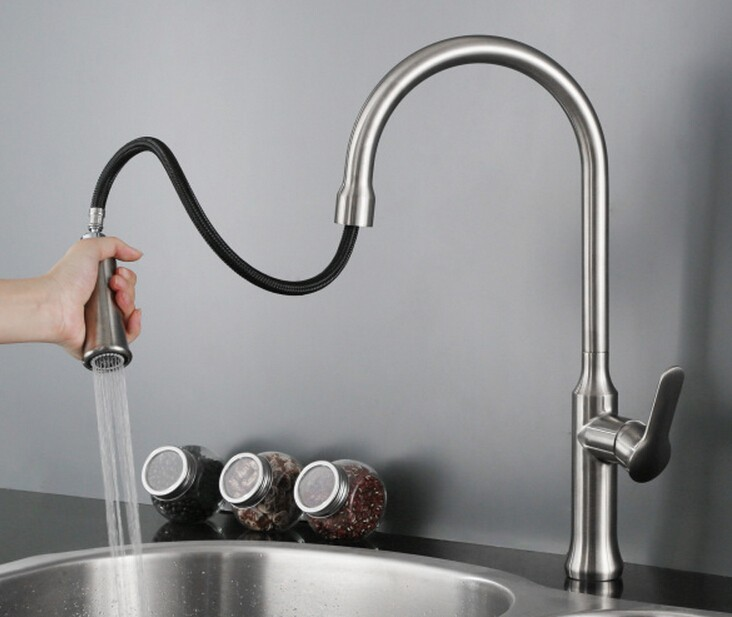 Free shipping brushed nickle Kitchen Faucet With Hot Cold Switch pull out two Function shower mixer