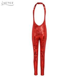 Image 5 - Adyce 2020 セクシーな夏の女性ロンパースボディスーツ黄金の赤アプリコット背中全身セレブパーティーボディコンドレスジャンプスーツ