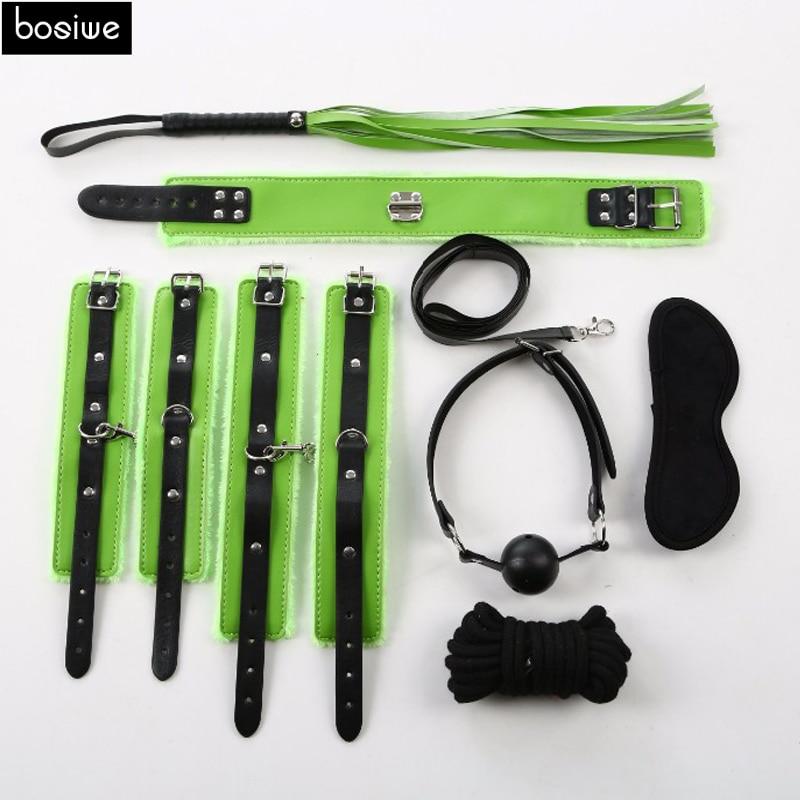 Buy 7Pcs Sex Bondage Kit Set Fetish BDSM Roleplay Handcuffs Whip Rope Blindfold Ball Gag PU Leather Slave Bondage Kit Set 7 Items