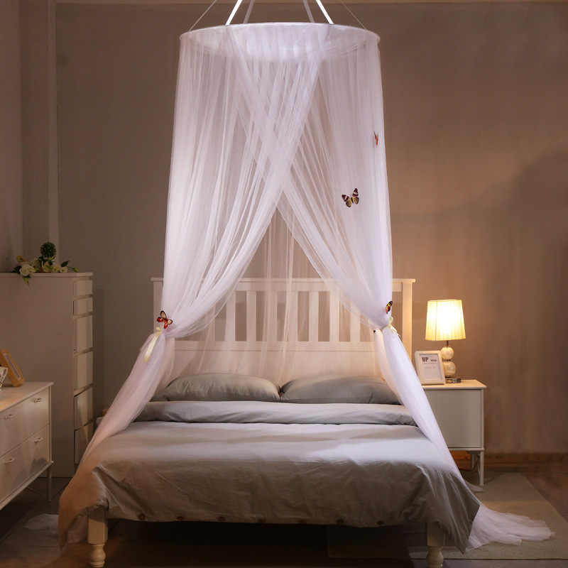Large Hanging Mosquito Nets for Summer Girl Kids Bedding Round Dome Bed Canopy Curtain Bed Tent with Butterfly Decor Bedcover
