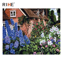 RIHE Flower Land Diy Painting By Numbers Abstract House Oil Painting On Canvas Cuadros Decoracion Acrylic Wall Picture For Room rihe river house diy painting by numbers abstract garden oil painting on canvas cuadros decoracion acrylic wall picture for room