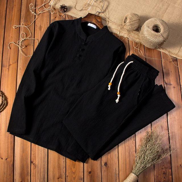 (Shirt + trousers) 2019 spring men shirt Man Cotton and linen shirts Long sleeves men's fashion casual shirts men size M to 5XL