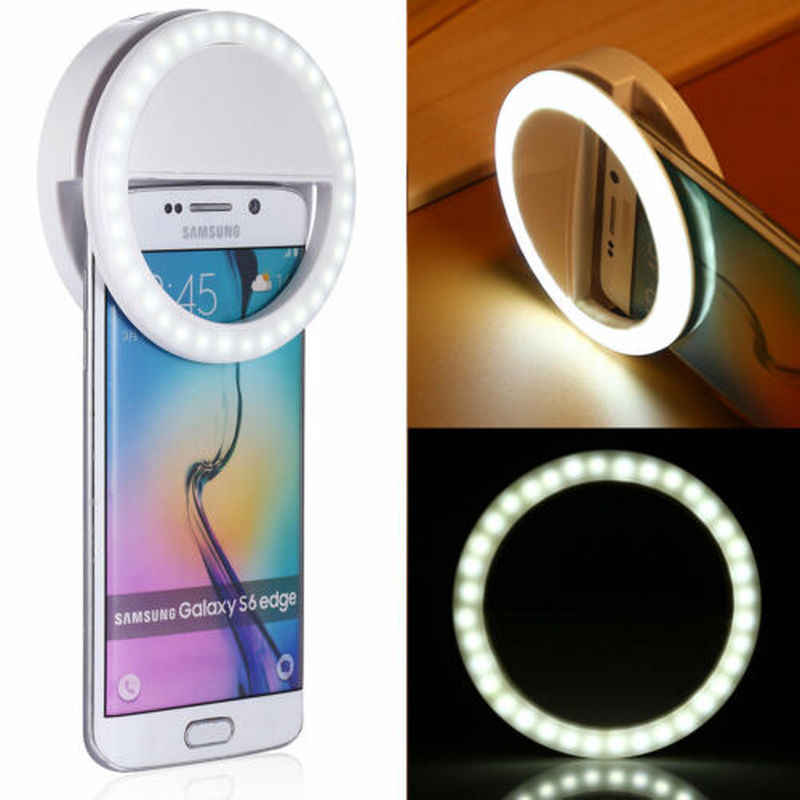 Universele Telefoon Selfie Ring LED Auto Flash Draagbare Mini Camera Fotografie Licht Ring Foto Lamp Voor Iphone Samsung Tablet