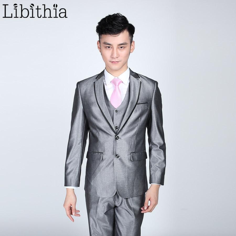 Aliexpress.com : Buy (Jacket pant tie) Mens Bright Grey Black ...