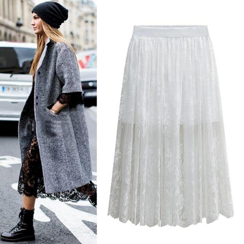 b6269d9f3 2019 nueva primavera verano mujeres elegante encaje Floral faldas de gran  tamaño M-5XL 6XL negro blanco faldas largo de encaje faldas
