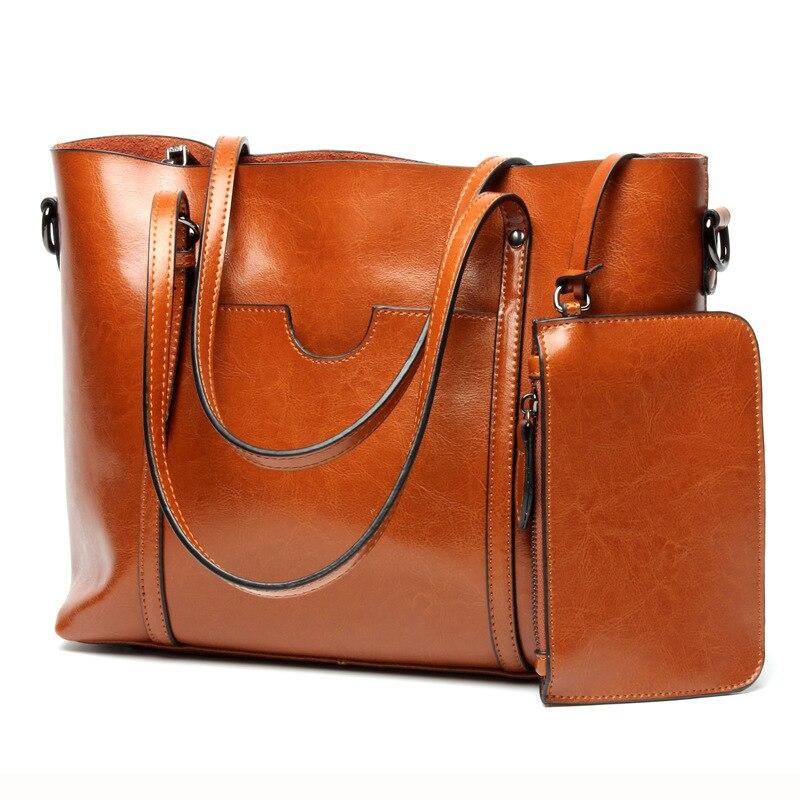 2018 натуральная кожа Для женщин модная сумка Для женщин сумки большой Сумки на плечо Элегантная Дамская сумка кошелек Топ-ручка Сумки