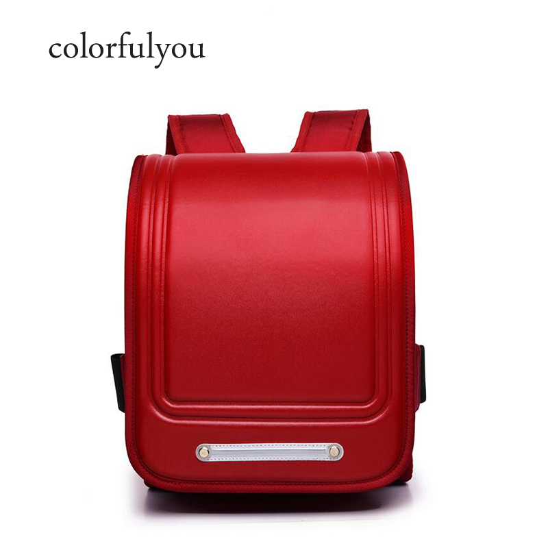 Orthopedic Backpack For Kids Solid School Bags For Boys And Girl Waterproof PU Randoseru Backpack Primary Grades 1-3 Schoolbags