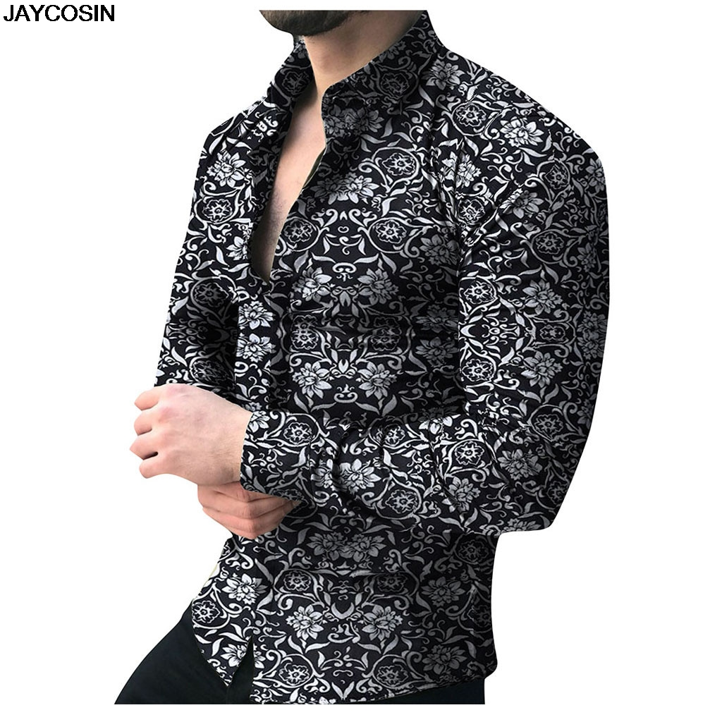 KLV Male Blouse Button-Top Collar Long-Sleeve Printed Floral Men's Fashion Casual SUMMER