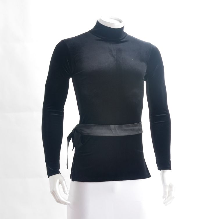 Latin dance shirt for men turtle neck long sleeve velvet belt