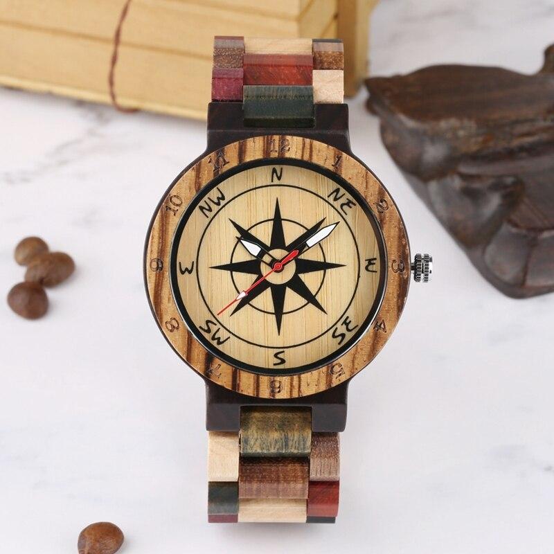 Creative Compass Dial Wood Watch Men Bamboo Watch Male Clocks Retro Full Wooden Wrist Quartz Watch Top Luxury Mens Watches 2019 2020 2022 2023 (5)