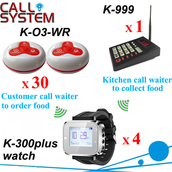 Wireless button to call for service restaurant hotel equipment 1 set 1 keypad 4 wrist pager 30 transmitters 100% waterproof  цены