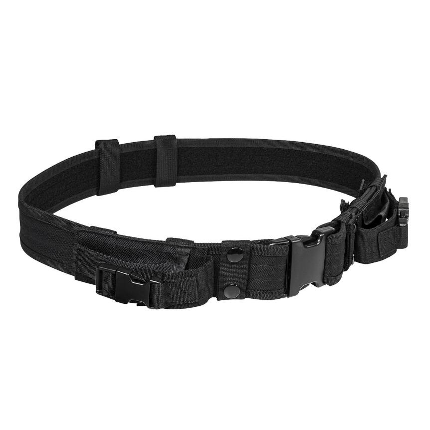 Outdoor Hunting Military Tactical Gear Tactical Belt Nylon Hunting Pouches Tactical Belt With Two Horizontal Magazine Pouches