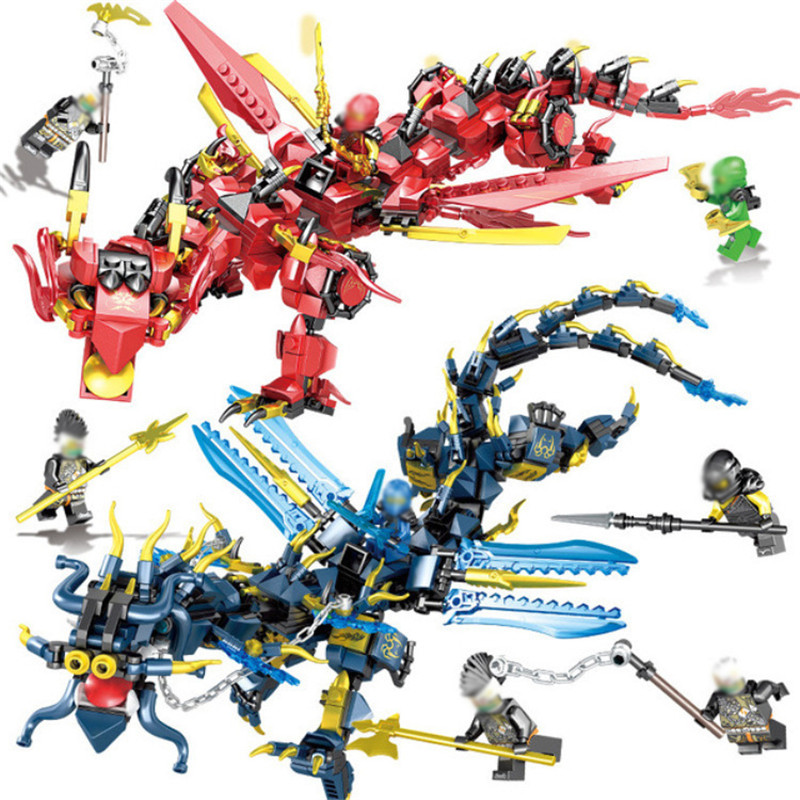 Ninjagoed Flying Mecha Dragons Building Blocks Ninja Action Figures Compatible Legoings DIY Bricks Education Toys Children Gifts 588pcs bricks diy ninjagoed movie building blocks compatible legoingly shark ninjagoed mini action figures blocks children toys