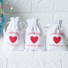 50 pcs Kater Kit Bruiloft Souvenirs Houder Tas 9x14 cm Hart Katoen Gift Ehbo Gift Bag Party gunsten Voor een Vakantie Hand Made