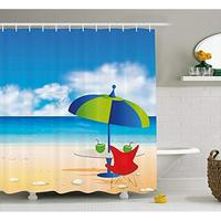 Vixm Beach Shower Curtain Relaxing Scene with Umbrella and Drinks Open Skyline Holiday Destination Summer Time Bath Curtains