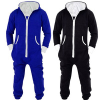 Adults Unisex Onesies Pyjamas Mens Women One Piece Cotton Pajamas Sleepwear Onesies Sleepsuit Black/Blue