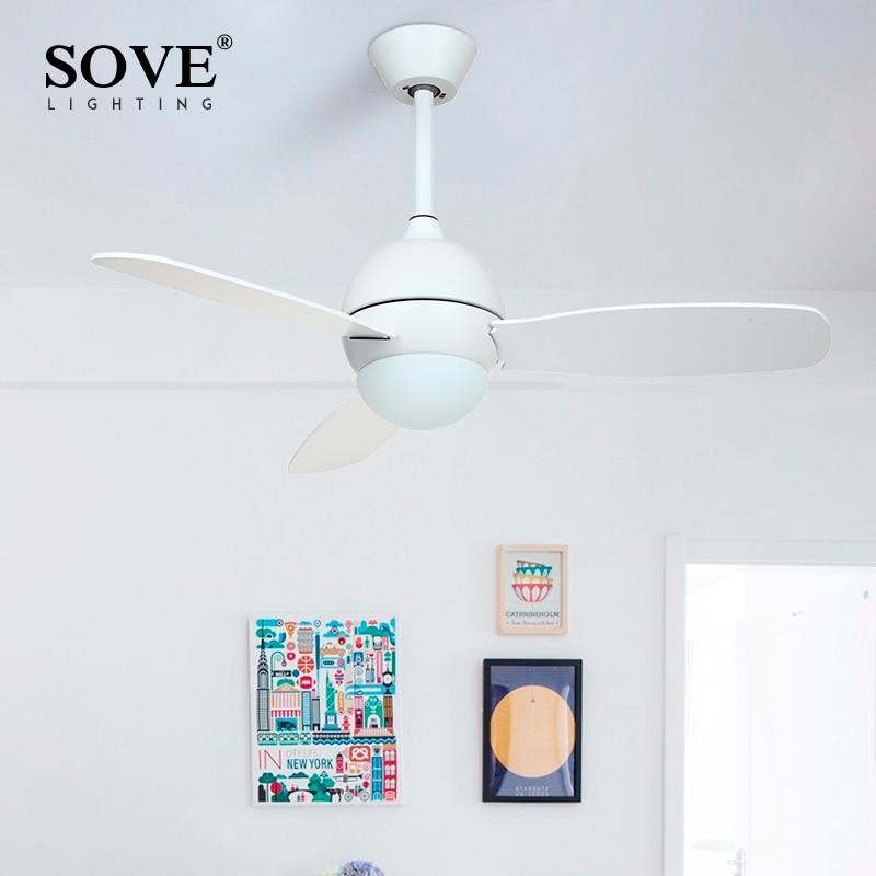 SOVE Modern White Black Kids Ceiling Fans With Lights Bedroom Ceiling Light Fan 220V Children Ceiling