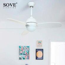 SOVE современный белый черный детский потолочный вентилятор с подсветкой спальня потолочный светильник вентилятор В 220 в детский потолочный вентилятор Ventilador De Techo