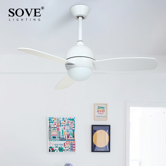 SOVE Modern White Black Kids Ceiling Fans With Lights Bedroom ...