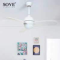 SOVE Modern White Black Kids Ceiling Fans With Lights Bedroom Ceiling Light Fan 220V Children Ceiling Fan Ventilador De Techo