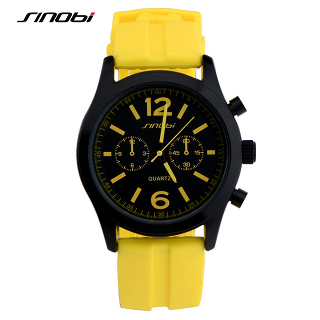 SINOBI Fashion Sports Women's Wrist Watches Waterproof Silicone Watchband Top Lu
