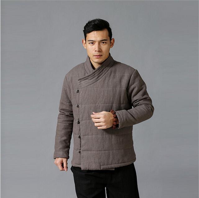 Homens Acolchoados Inverno Jacekt Chinoiserie top qualidade de linho puro algodão-acolchoado Casaco Parka Quente Jaqueta 3 Cores Plus Size jaqueta
