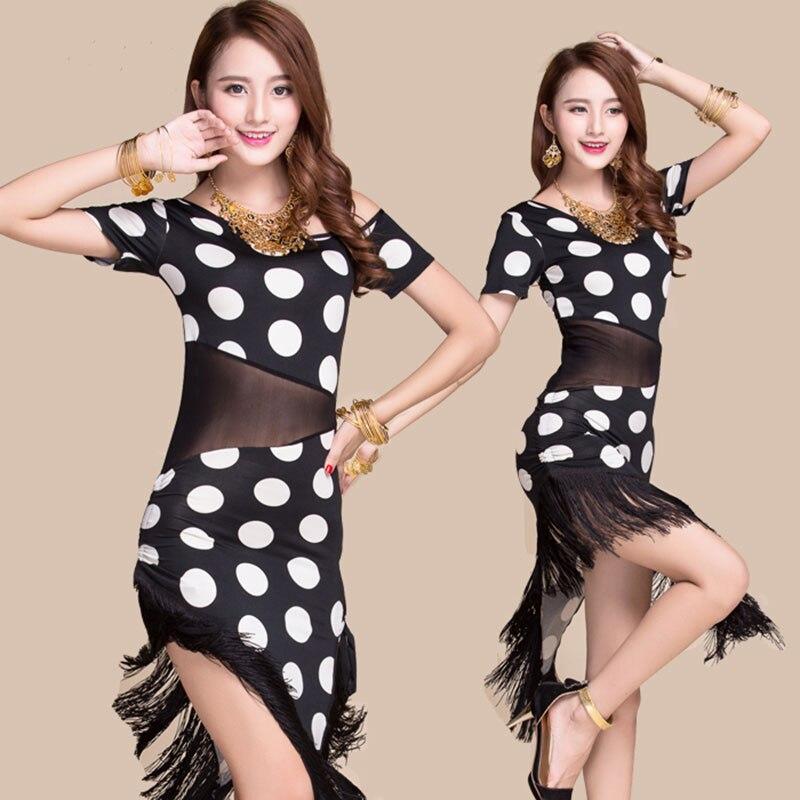 Výkon Dospělý střapec Světová móda Latinské taneční šaty Sexy střapec z jednoho kusu Latinské šaty Černá Krátký rukáv s střapcem SML
