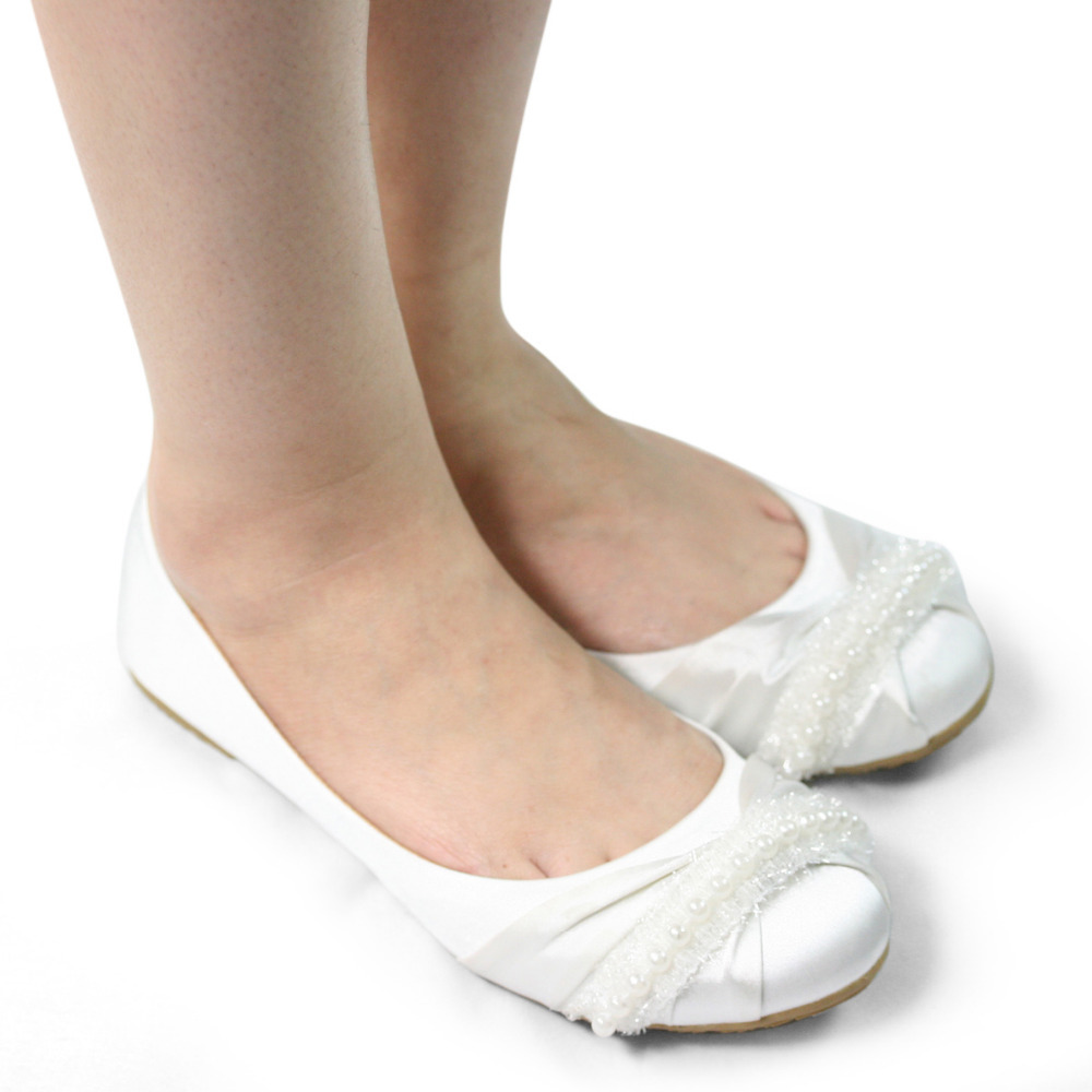 SHOEZY White Women Flat Wedding Shoes Woman Satin Silk Crystal Bridal  Birdesmaid Prom Comfort Shoes Ladies White Flats In Womenu0027s Flats From Shoes  On ...