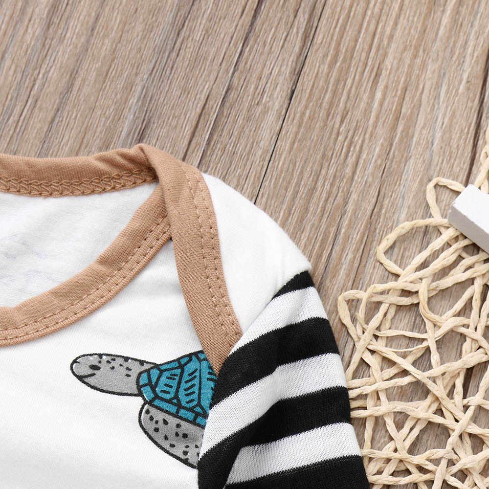 Newborn2018 幼児ベビー少年少女亀ストライプロンパースジャンプスーツ帽子服セットカメプリントウエストハーネスジャンプスーツ