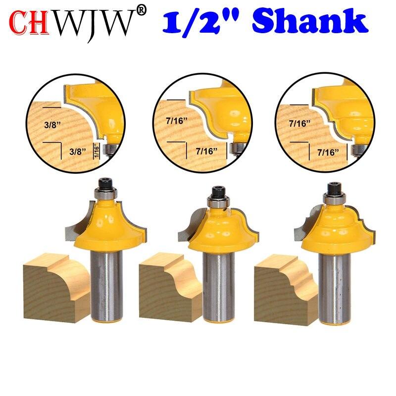 3Pc Edge Molding Router Bit Set - Medium Designer - 12 Shank Woodworking cutter
