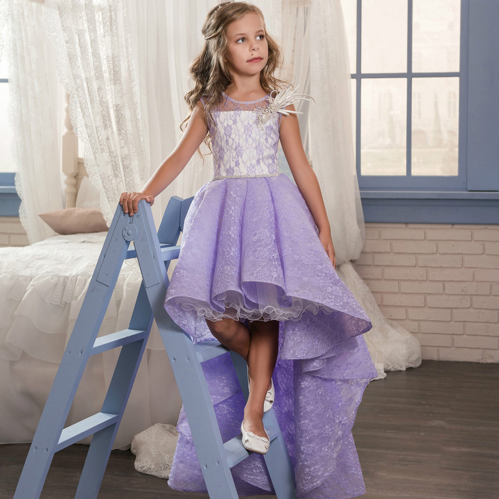Fancy Pageant Dress Sleeveless Lace Appliques Satin Purple Flower Girl Dresses Wedding Christmas Tulle Hi-lo Ball Gowns 0-12 Y gorgeous lace beading sequins sleeveless flower girl dress champagne lace up keyhole back kids tulle pageant ball gowns for prom