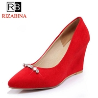 RizaBina Size 33 43 Office Lady High Wedges Shoes Pointed Toe Beading Wedges Pumps Party Club Wedding Shoes Soft Sexy Footwear