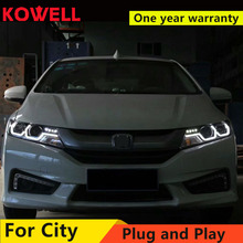 KOWELL Car Styling For Honda City 2014-2016 LED Headlight for City Head Lamp with double U LED DRL Double lens Bi-Xenon HID KIT
