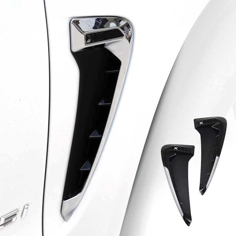 2x Car Styling Side Wing Air Flow Fender Grill Outlet Intake Vent Trim For BMW X5 F15 2014 2015 2016 2017 Black / Chrome Silver
