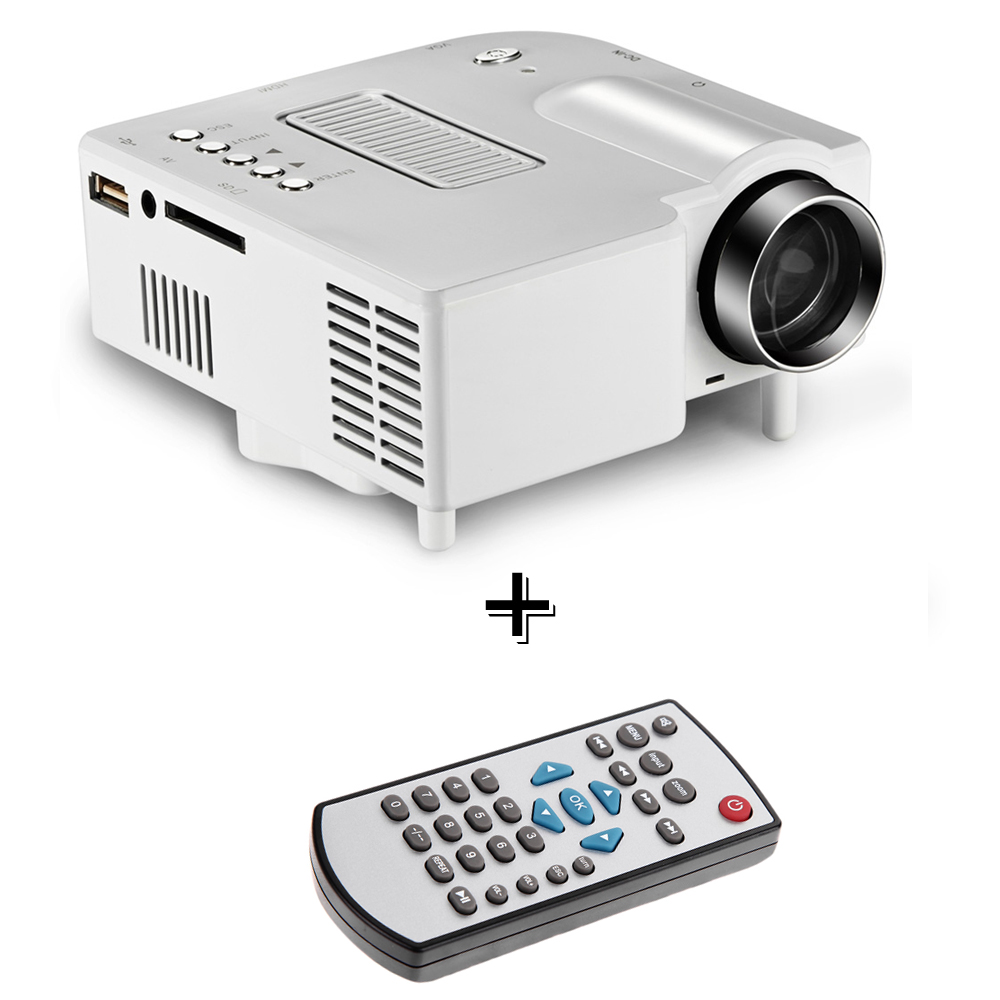 UK Plug Portable Mini Projector Multimedia Cinema Theater PC LED Projector VGA/USB/SD/AV/HDMI Projector + Remote Control