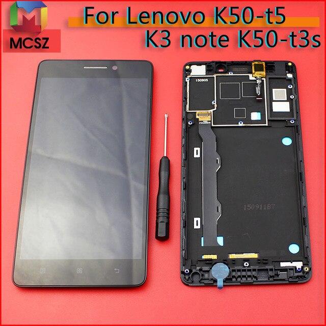 K50 t5 K3 ملاحظة K50a40 شاشة إل سي دي باللمس الجمعية الشاشة مع الإطار لينوفو K50 t3s استبدال أجزاء